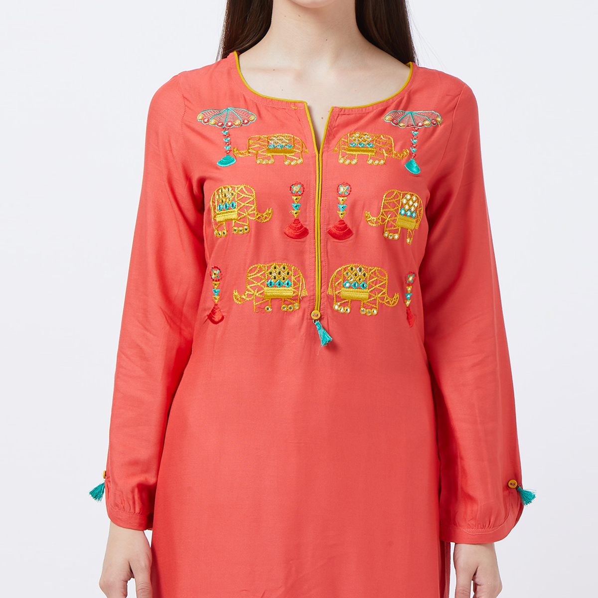 Fantastic Coral Red Colored Partywear Embroidered Rayon Long Kurti
