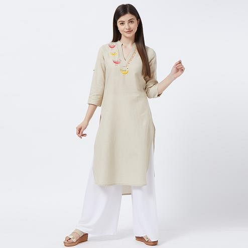 Gorgeous Beige Colored Partywear Embroidered Cotton Long Kurti