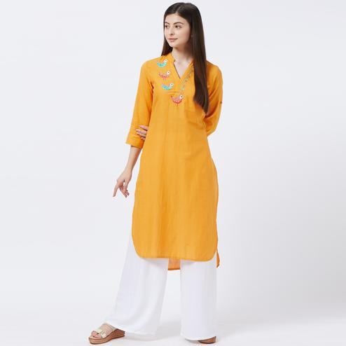Impressive Orange Colored Partywear Embroidered Cotton Long Kurti