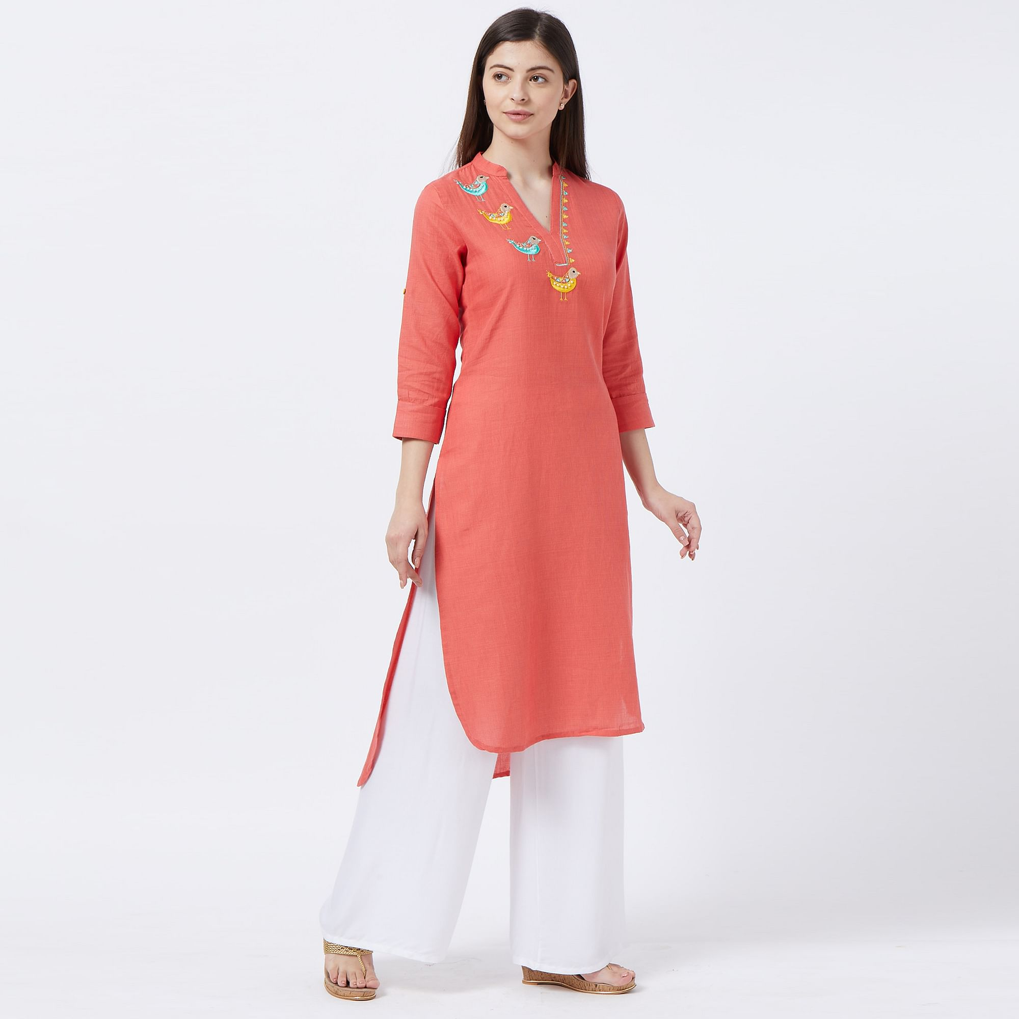 Mesmerising Coral Red Colored Partywear Embroidered Cotton Long Kurti