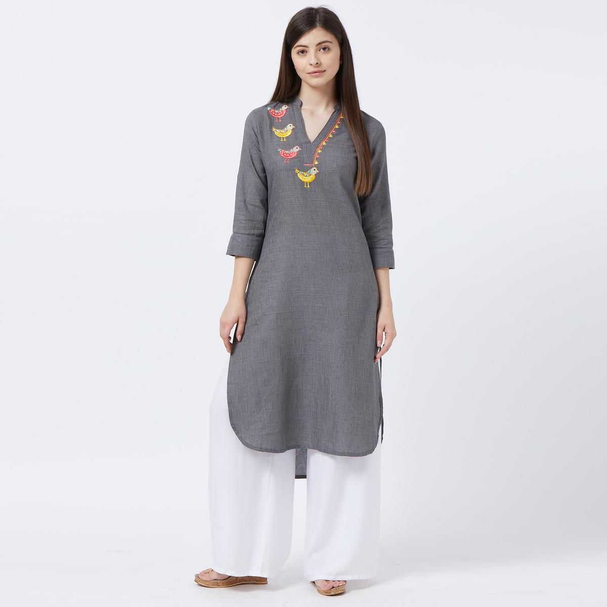 Pleasance Gray Colored Partywear Embroidered Cotton Long Kurti
