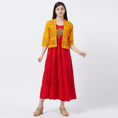 Breathtaking Red-Yellow Colored Partywear Embroidered Koti Style Rayon Kurti