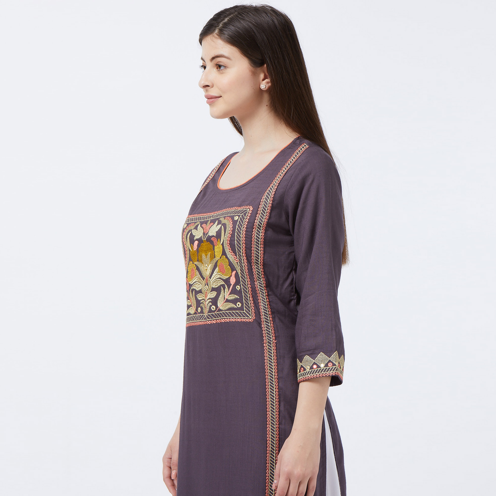 Ravishing Dark Gray Colored Partywear Embroidered Rayon Long Kurti
