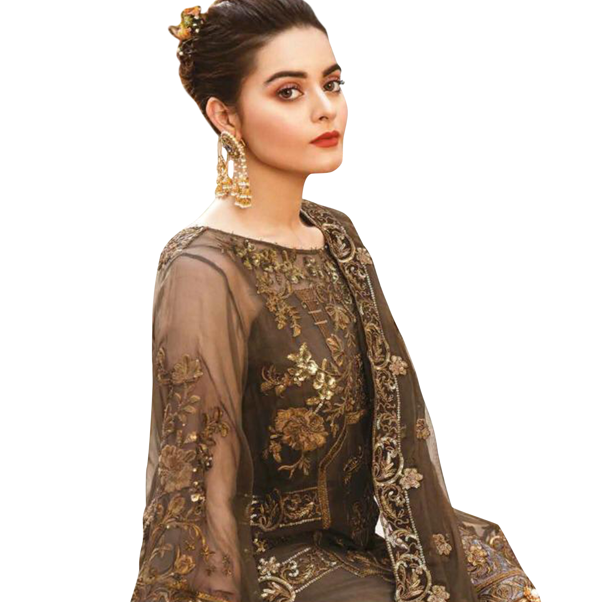 Innovative Brown Colored Partywear Embroidered Georgette Palazzo Suit