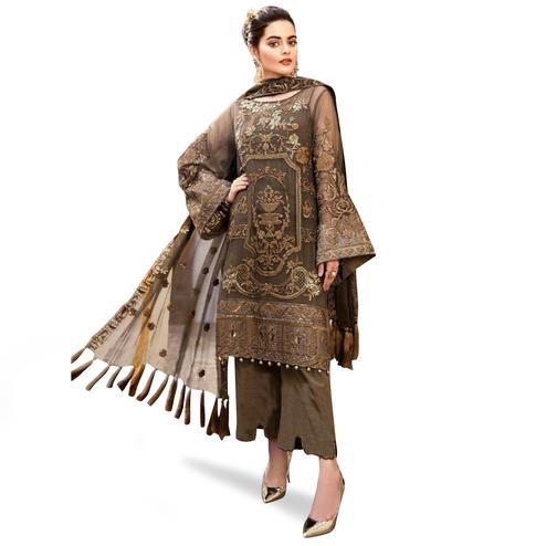 Innovative Brown Colored Partywear Embroidered Net Palazzo Suit