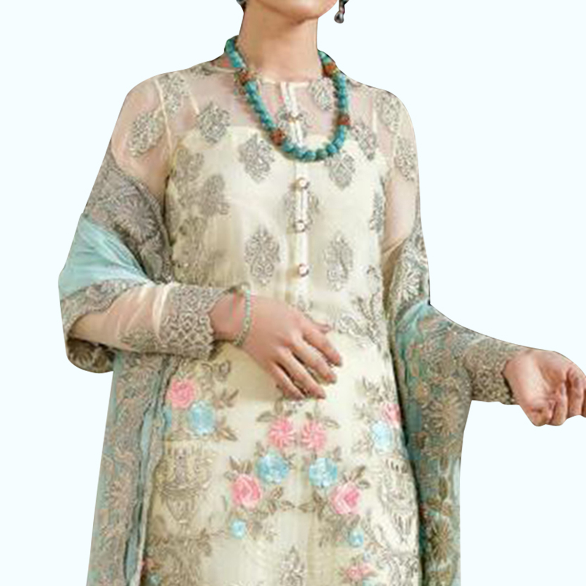 Eye-catching White Colored Partywear Embroidered Georgette Suit