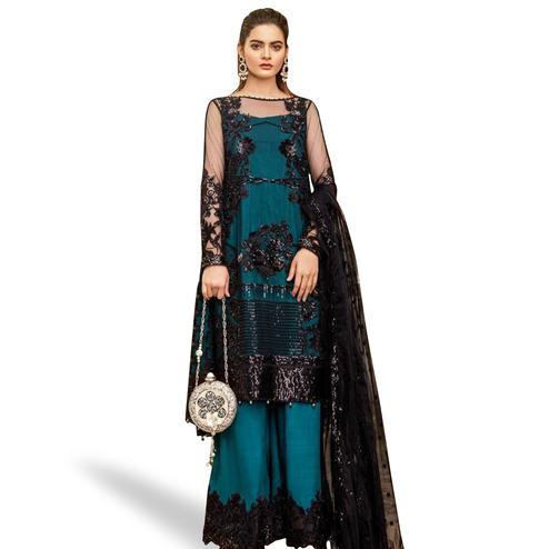 Fantastic Rama Blue Colored Partywear Embroidered Net Suit