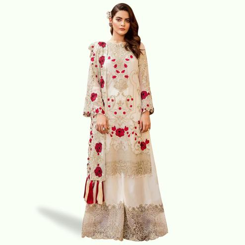 Amazing White Colored Partywear Embroidered Georgette Palazzo Suit