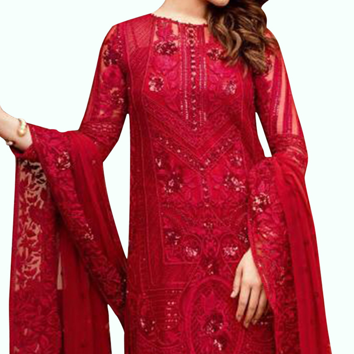 Gorgeous Red Colored Partywear Embroidered Georgette Palazzo Suit