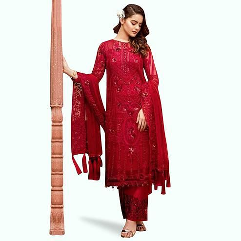 Gorgeous Red Colored Partywear Embroidered Net Palazzo Suit