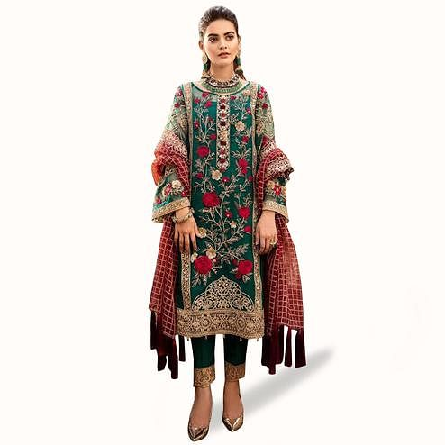 Blissful Green Colored Partywear Embroidered Net Suit