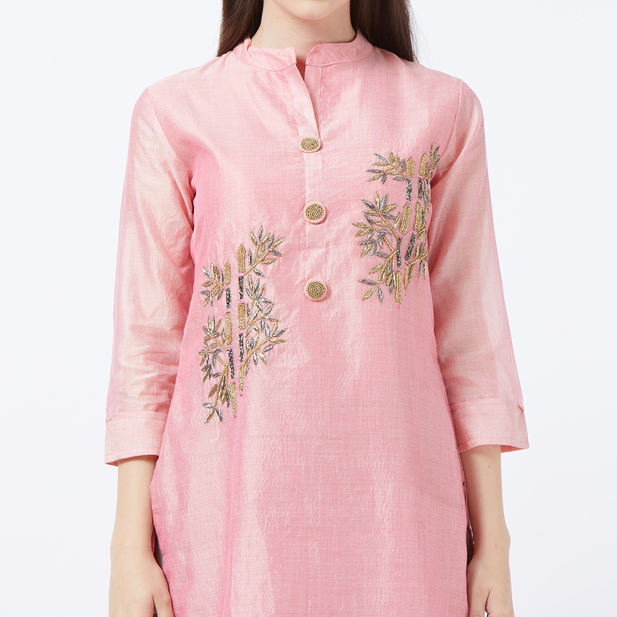 Jazzy Pink Colored Partywear Embroidered Cotton Silk Palazzo Suit
