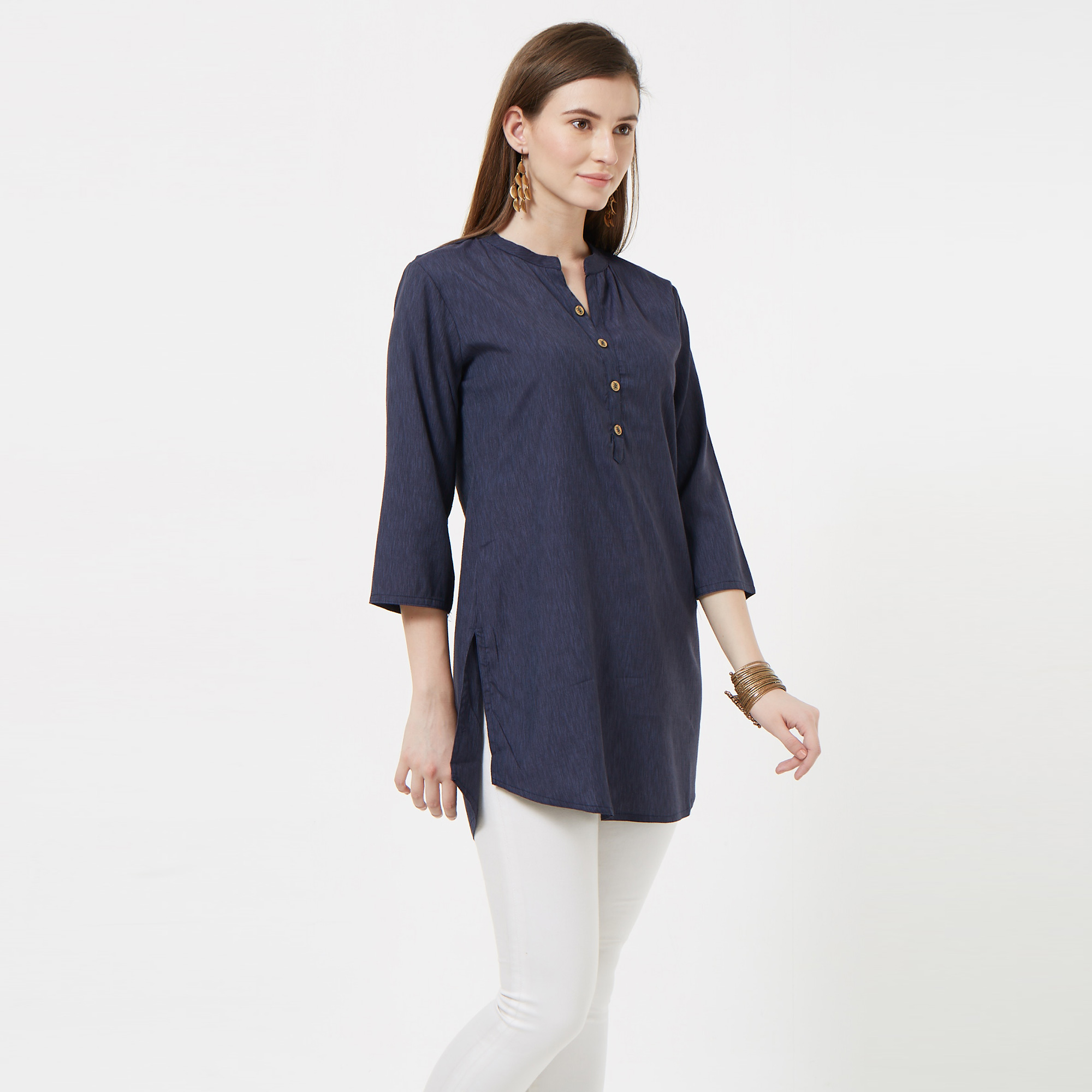 Groovy Navy Blue Colored Casual Wear Cotton Short Kurti