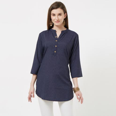 Groovy Navy Blue Colored Casual Wear Cotton Top