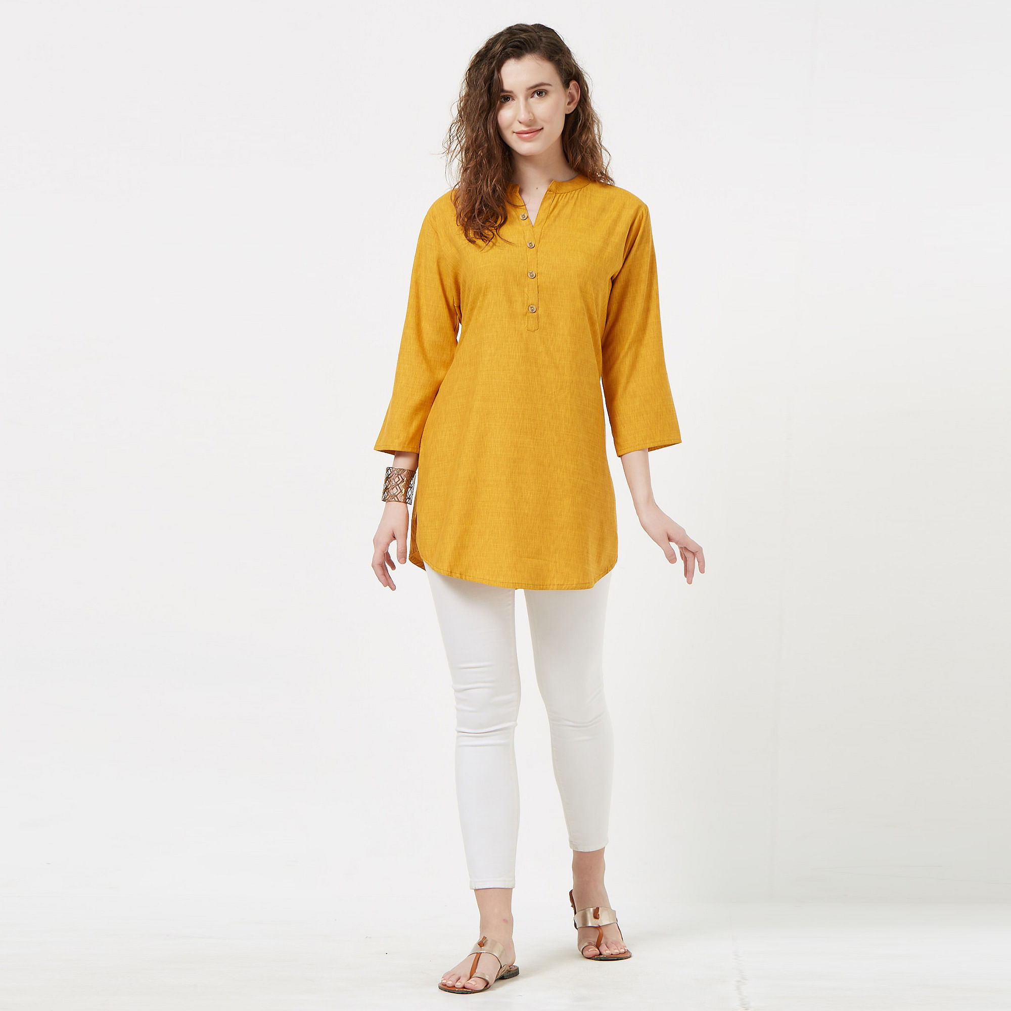 Exotic Yellow Colored Casual Wear Cotton Top
