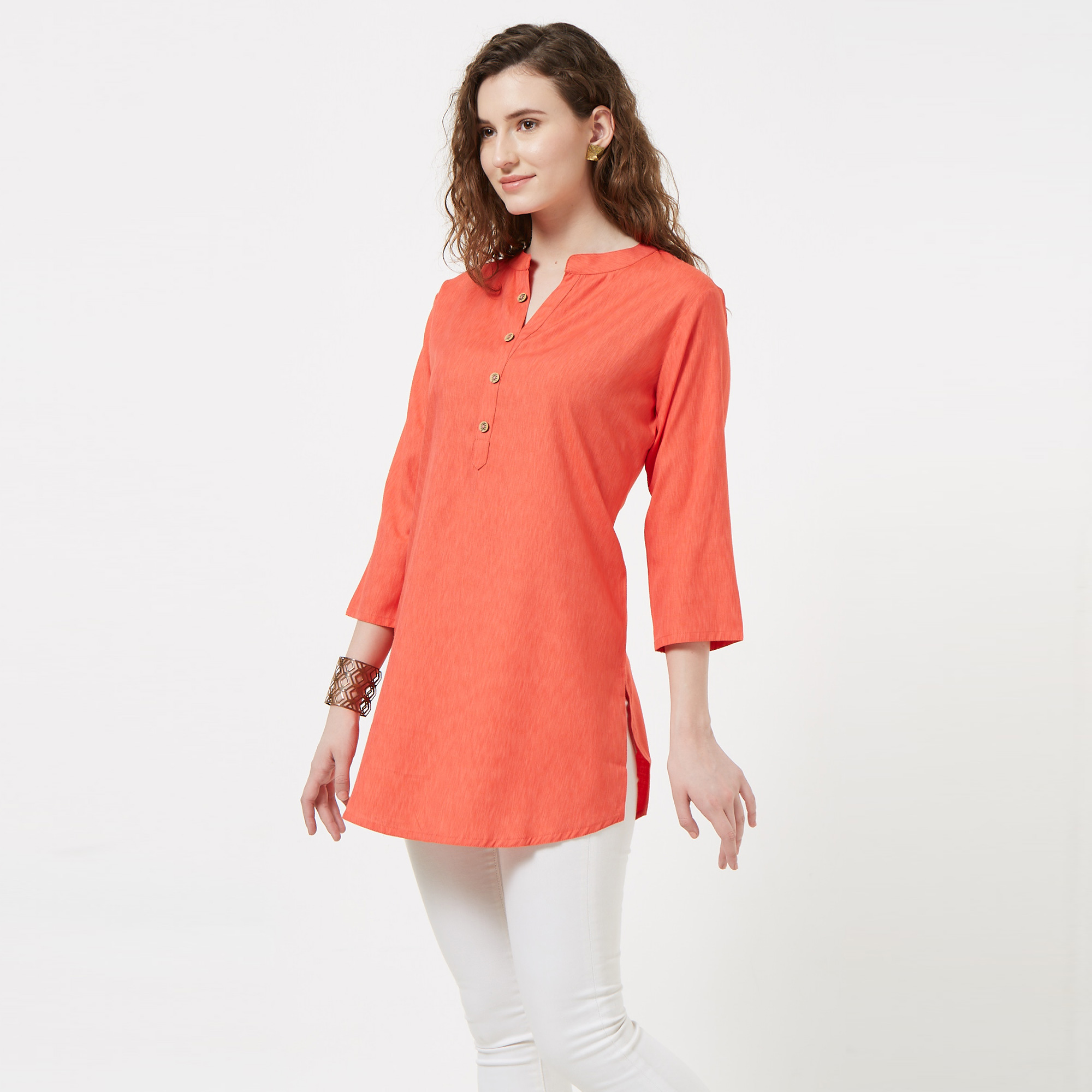 Elegant Coral Red Colored Casual Wear Cotton Top