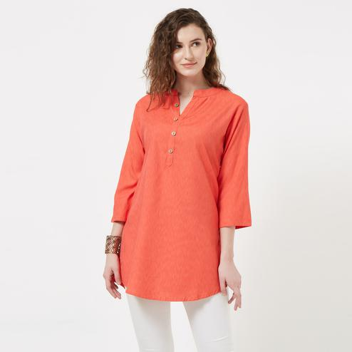 Elegant Coral Red Colored Casual Wear Cotton Short Kurti