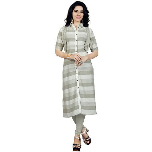 Amazing Gray Colored Casual Printed Rayon Kurti