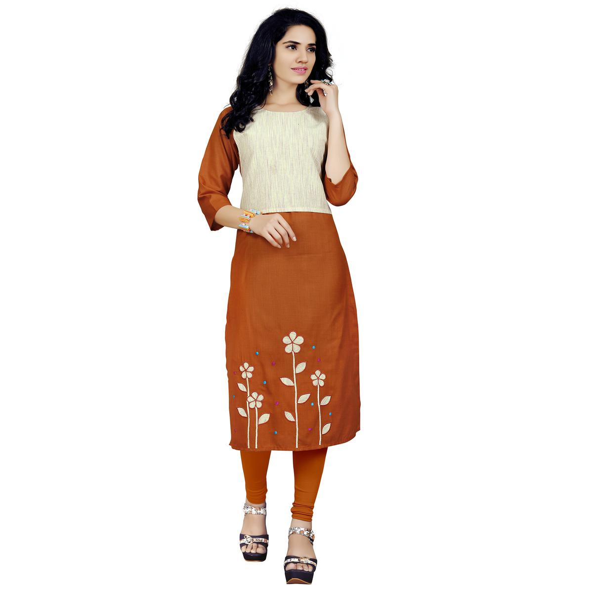 Gorgeous Dark Rust Orange Colored Casual Embroidered Cotton Kurti