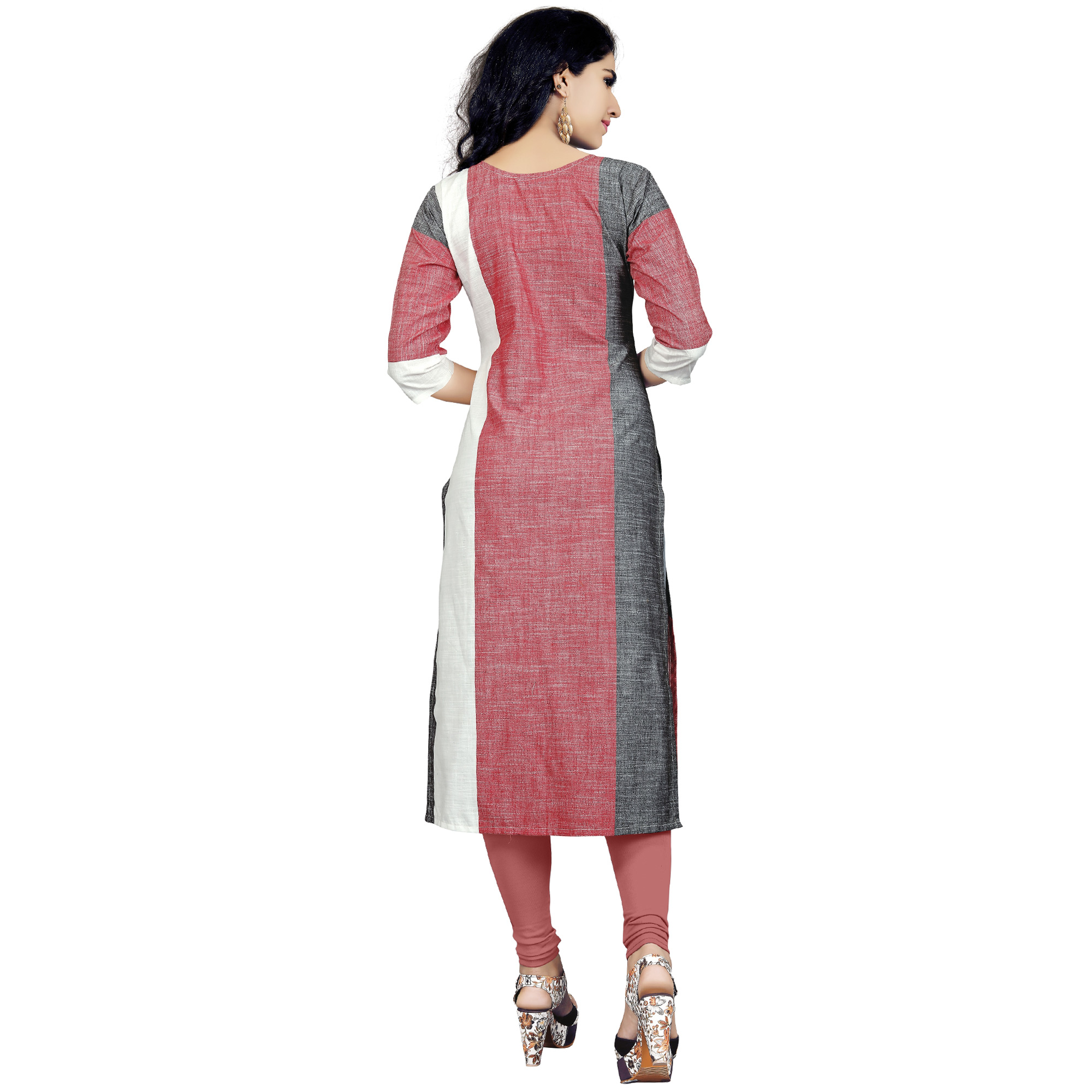 Blissful Gray-Red Colored Casual Wear Cotton Kurti