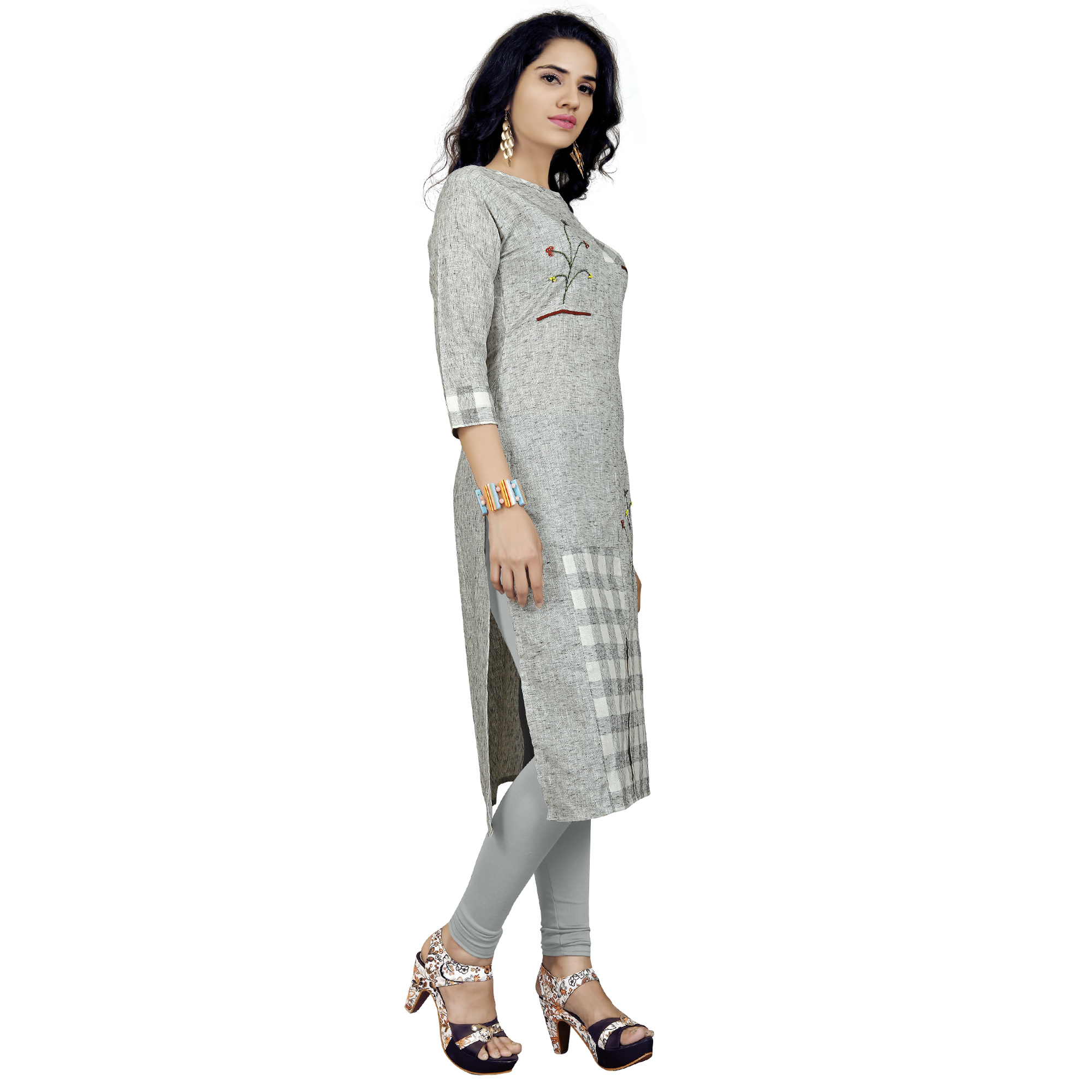 Ideal Light Gray Colored Casual Printed Rayon Kurti