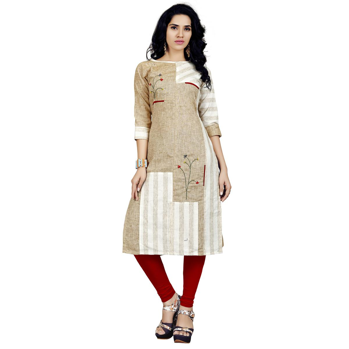 Imposing Beige-White Colored Casual Printed Rayon Kurti