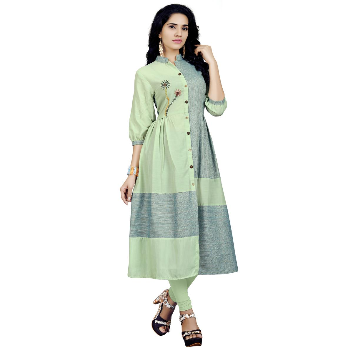 Lovely Light Green Colored Casual Embroidered Cotton Kurti