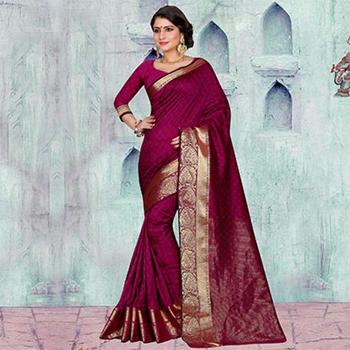 Rani Pink Festive Wear Art Silk Saree