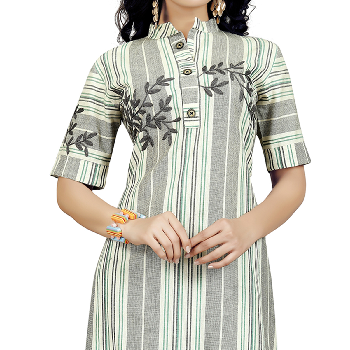 Majesty White-Gray Colored Casual Embroidered Cotton Kurti
