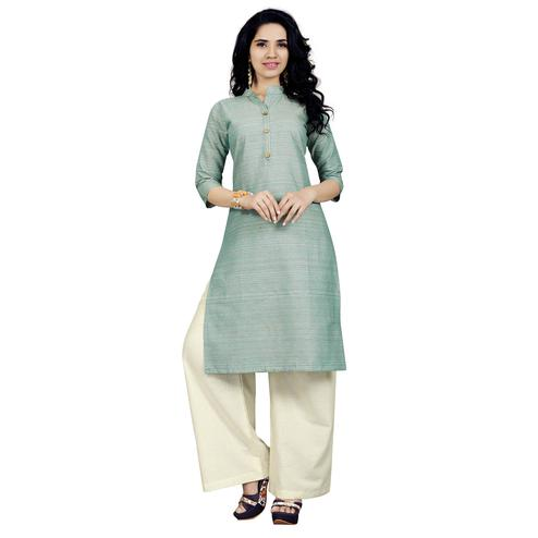 Impressive Pastel Aqua Green Colored Casual Wear Cotton Kurti