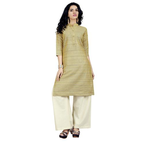 Mesmerising Yellow Colored Casual Wear Cotton Kurti