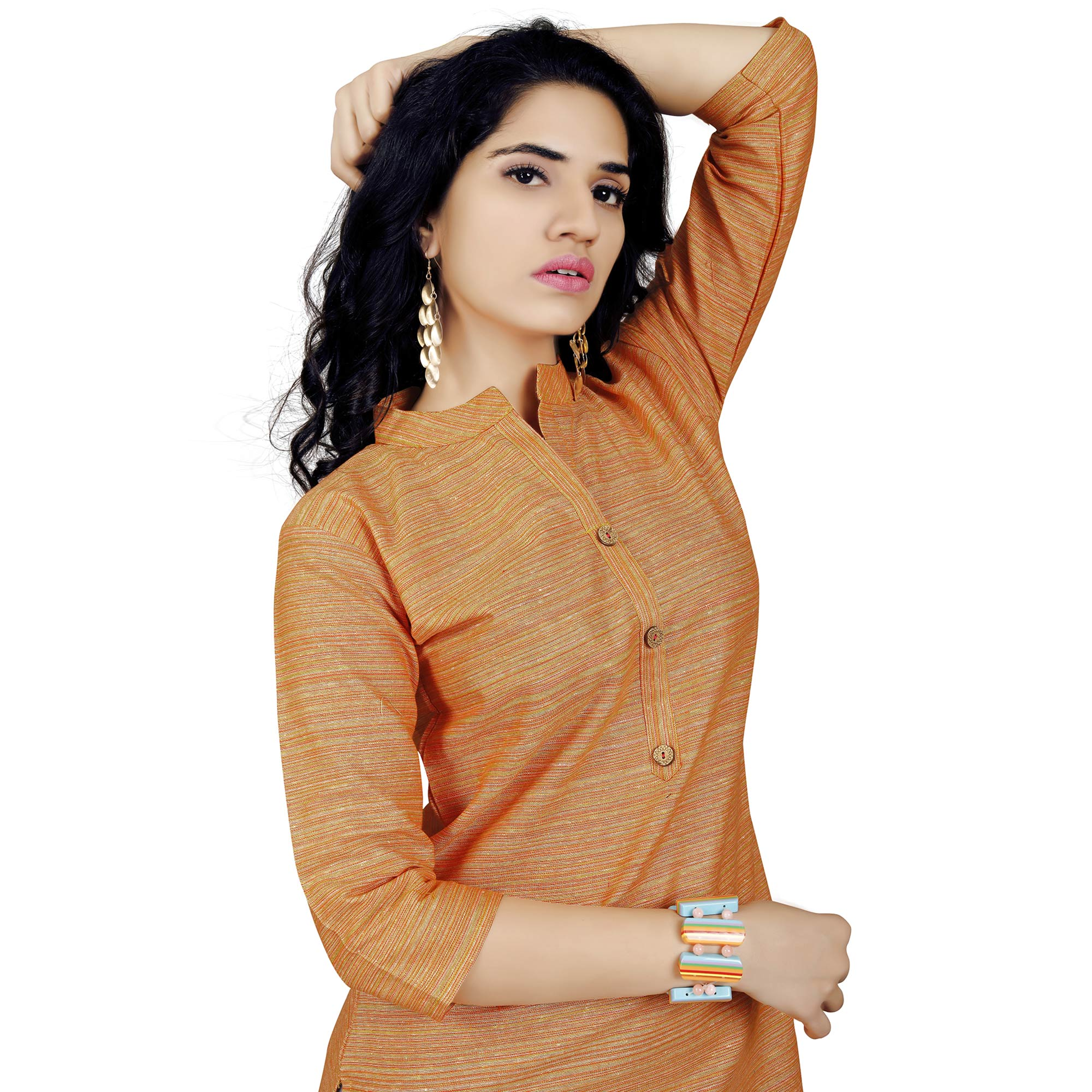 Pleasance Orange Colored Casual Wear Cotton Kurti