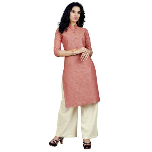 Breathtaking Coral Red Colored Casual Wear Cotton Kurti