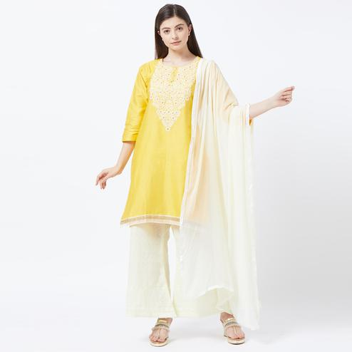 Demanding Yellow Colored Partywear Embroidered Stitched Cotton Salwar Suit