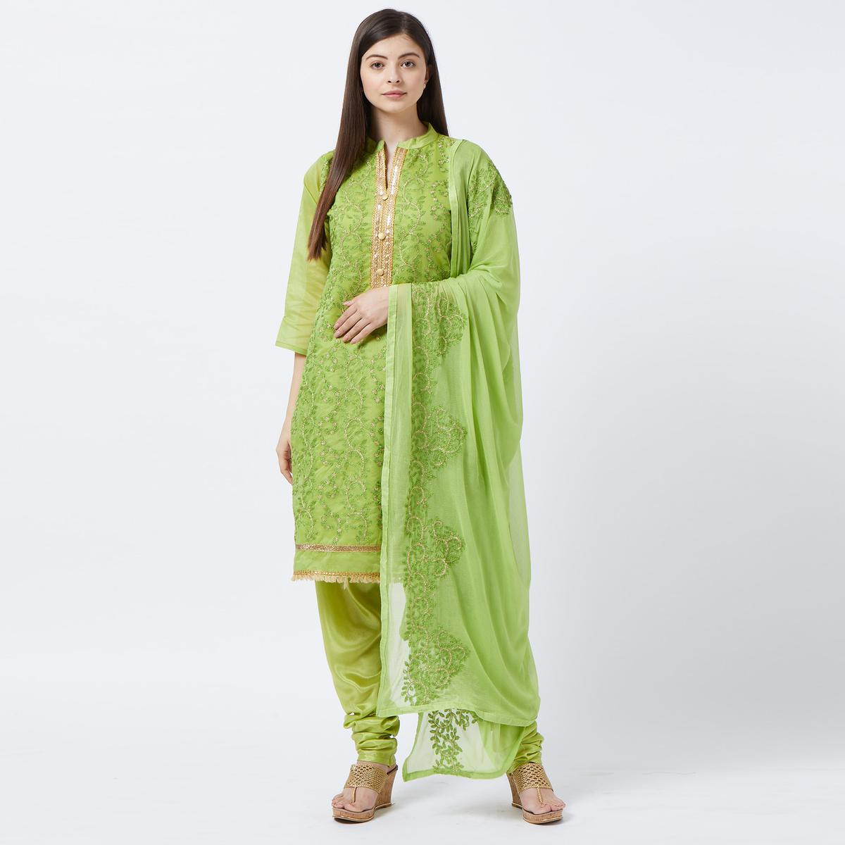 Beautiful Green Colored Partywear Embroidered Stitched Chanderi Silk Salwar Suit