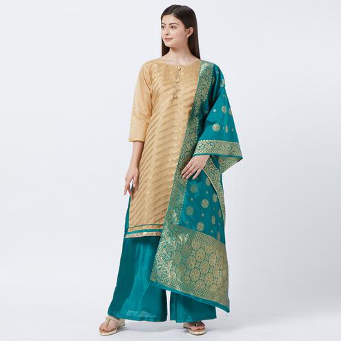 Sophisticated Cream-Rama Blue Colored Partywear Woven Stitched Jacquard Silk Salwar Suit