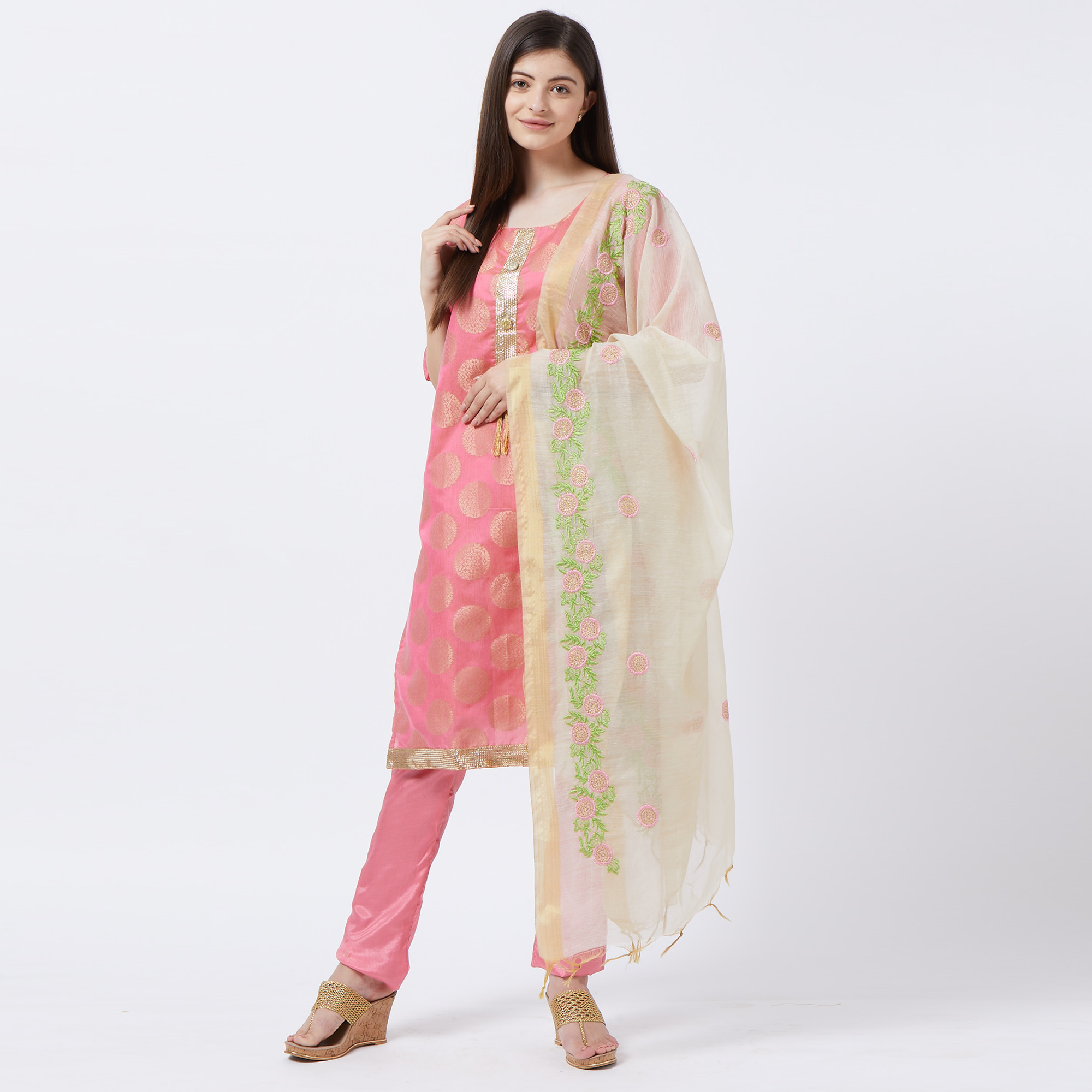 Alluring Pink Colored Partywear Woven Stitched Jacquard Silk Salwar Suit
