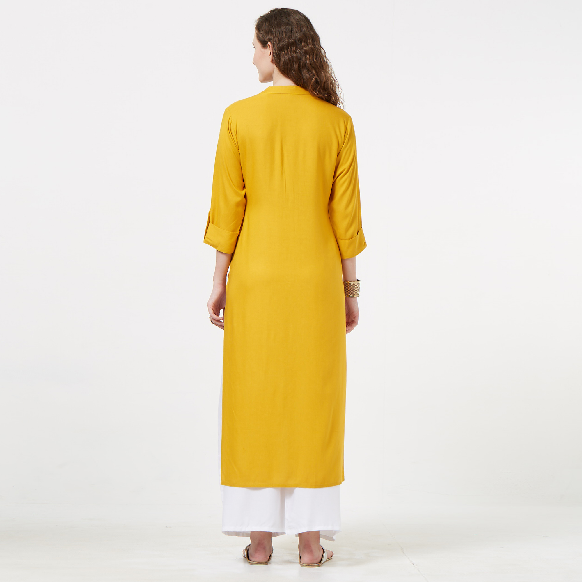 Gleaming Yellow Colored Partywear Embroidered Rayon Long Kurti