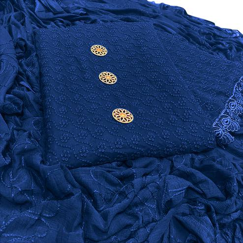 Desiring Navy Blue Colored Partywear Embroidered Georgette Salwar Suit