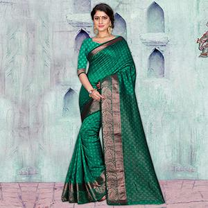 Green Festive Wear Art Silk Saree