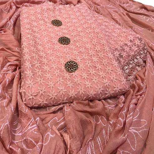 Trendy Peach Colored Partywear Embroidered Georgette Salwar Suit