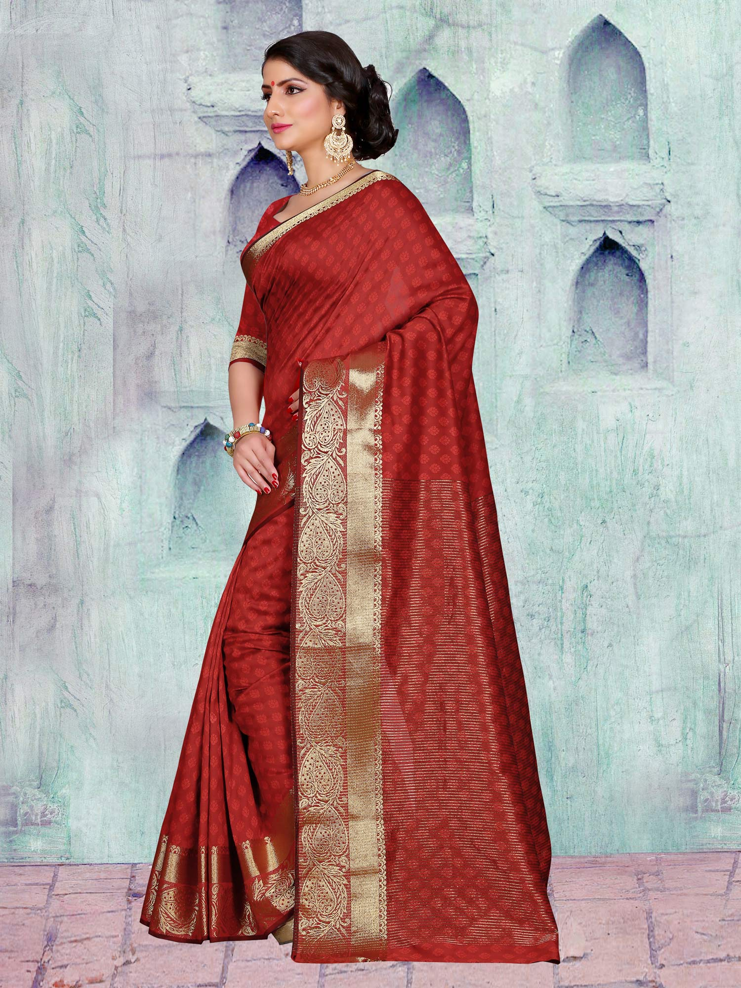 Maroon Festive Wear Art Silk Saree