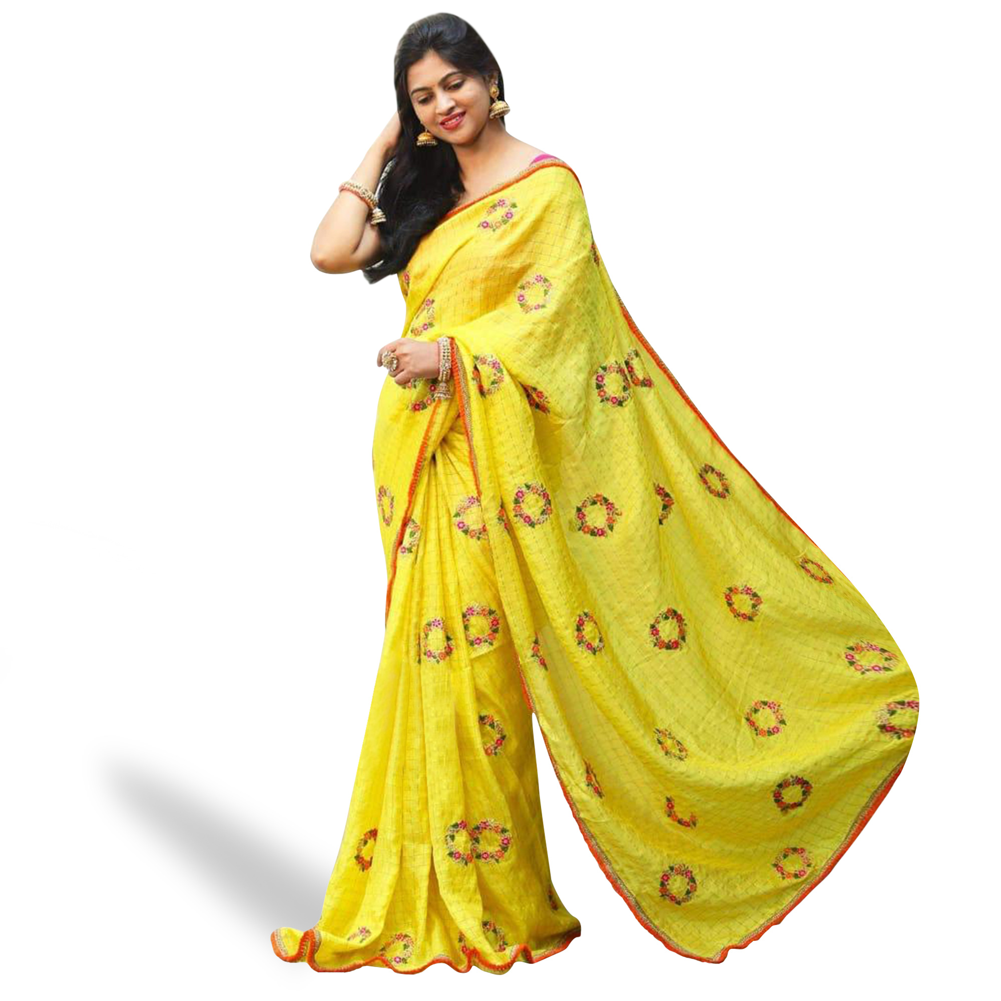 Blooming Yellow Colored Partywear Embroidered Cotton Saree
