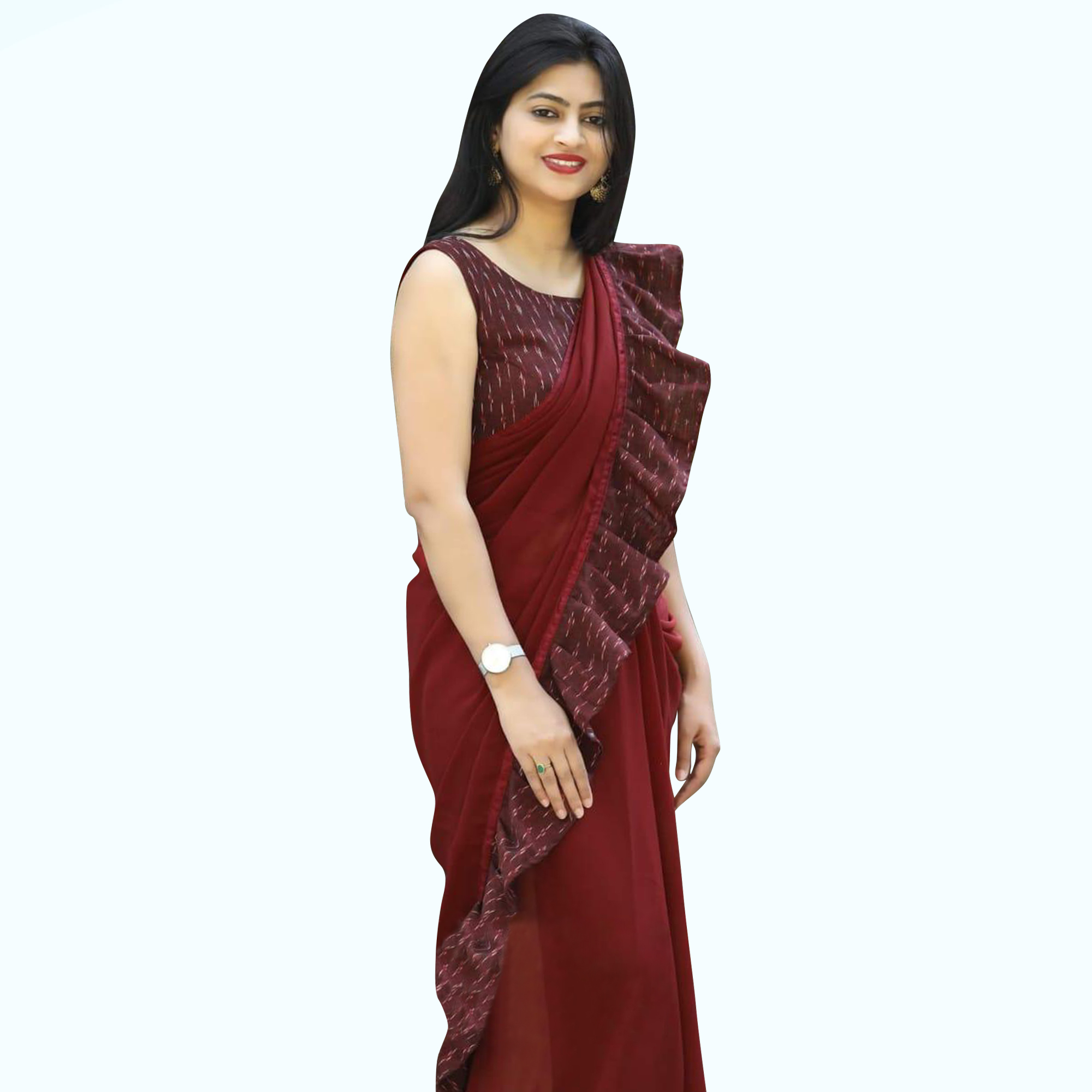 Stunning Maroon Colored Partywear Georgette Saree