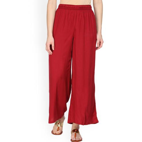 Gleaming Red Colored Casual Wear Rayon Palazzo