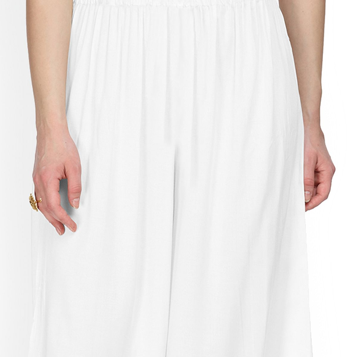 Alluring White Colored Casual Wear Rayon Palazzo