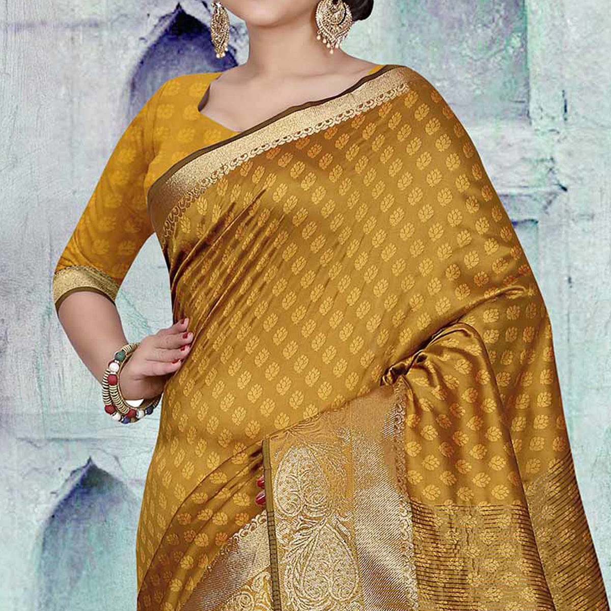 Mustard Yellow Festive Wear Art Silk Saree