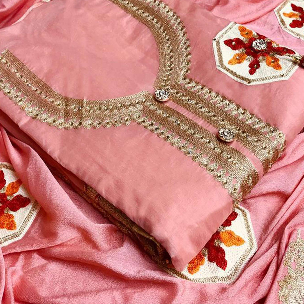 Classy Peach Colored Partywear Embroidered Chanderi Silk Salwar Suit