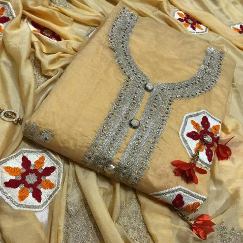 Mesmerising Yellow Colored Partywear Embroidered Chanderi Silk Salwar Suit