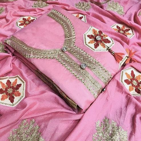 Fantastic Pink Colored Partywear Embroidered Chanderi Silk Salwar Suit